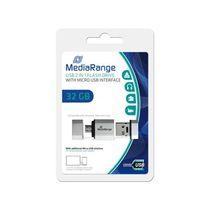 MediaRange USB-Stick Nano/MR932 32GB H34xB17xT8mm schwarz-silber 7g