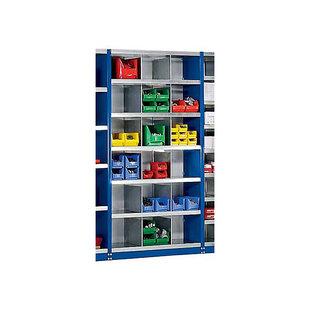Steckregal-System, Regalhöhe 1990 mm - 18 Fächer, BxT 1000 x 400 mm - Grundregal, enzianblau RAL 5010
