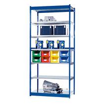 Stabil-Steckregal, einseitig - Regalhöhe 3000 mm, blau/verzinkt, Bodenbreite 1325 mm - Grundregal, Breite x Tiefe 1325 x 400 mm