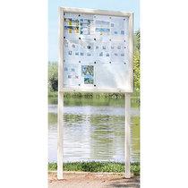 Jansen Display Schaukasten, Horizontalschwenktür - BxH 1025 x 1067 mm, für 12 DIN A4-Blatt - enzianblau