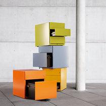 BISLEY Rollcontainer Note™, mit 3 Universalschubladen, HxBxT 495 x 420 x 565 mm, mit Griff anthrazitgrau