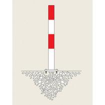 Sperrpfosten - zum Aufdübeln, Ø 90 mm - rot-weiß kunststoffbeschichtet, 1 Öse