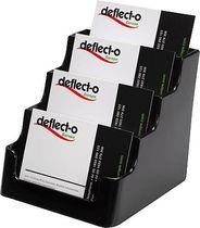 deflecto® Visitenkartenhalter/DE70404, schwarz, 4 Fächer, Inh. bis 4x60 Karten