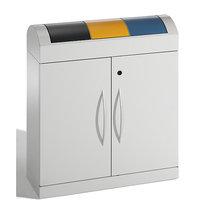 stumpf Wertstoffsammler-Sortiersystem - Korpus lichtgrau, HxT 975 x 320 mm - Volumen 3 x 45 l, Breite 860 mm, Klappen in blau, gelb, anthrazit