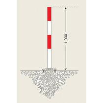 Sperrpfosten aus Stahl - zum Aufdübeln, Ø 60 mm - rot-weiß, 2 Kettenösen