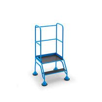Mobile Stehleiter mit Plattform, 2 Stufen, mit Geländer, Siebdruckplatte