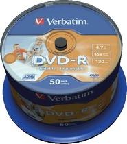Verbatim DVD-R 50PK NO ID Rohling/43533 16x 4,7GB bedruckbar Inh. 50 Stk
