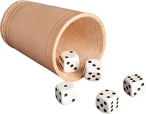 RNK Würfelspielset mit Würfelbecher, 5 Würfel und 1 Pkg. Würfelspiel-Blocks (5802)