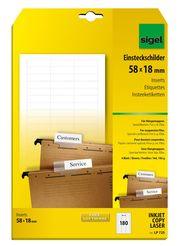 Sigel PC-Einsteckschilder für Hängemappen